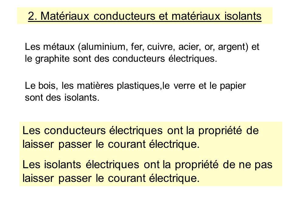 2. Matériaux conducteurs et matériaux isolants