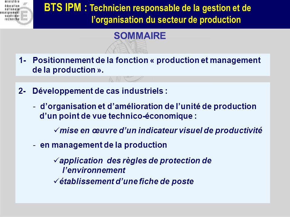 SOMMAIRE 1- Positionnement de la fonction « production et management