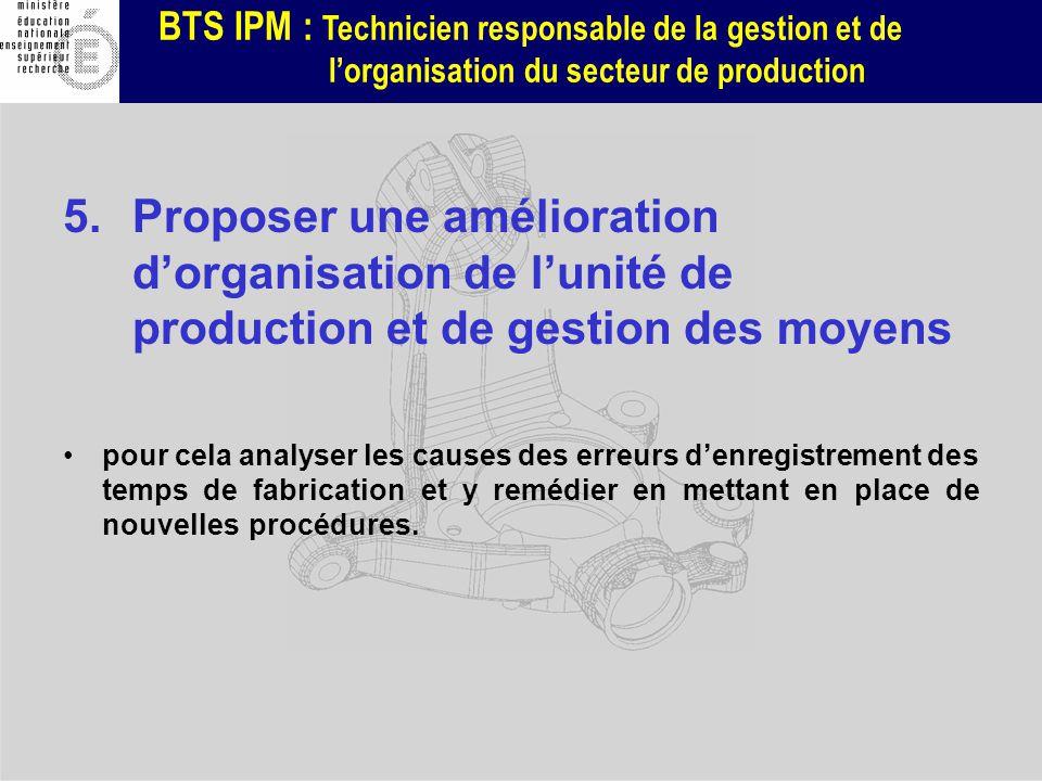 Proposer une amélioration d'organisation de l'unité de production et de gestion des moyens