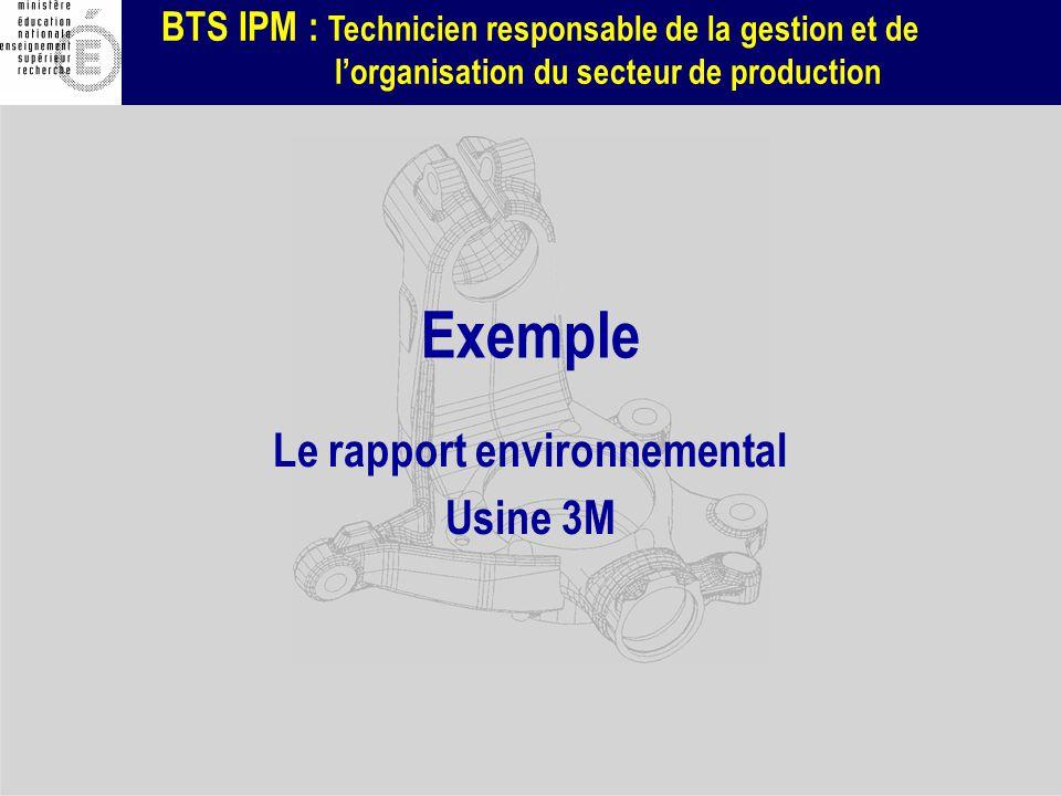 Le rapport environnemental Usine 3M
