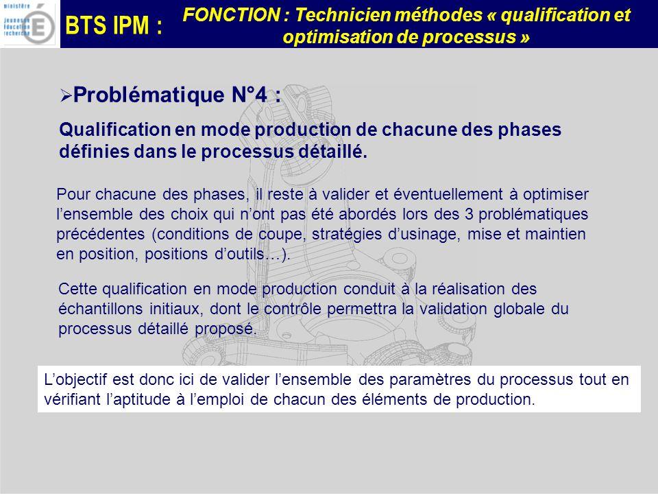 Problématique N°4 : Qualification en mode production de chacune des phases définies dans le processus détaillé.
