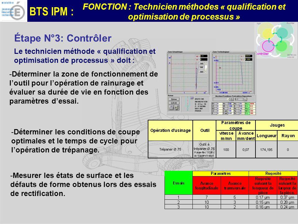 Étape N°3: Contrôler Le technicien méthode « qualification et optimisation de processus » doit :