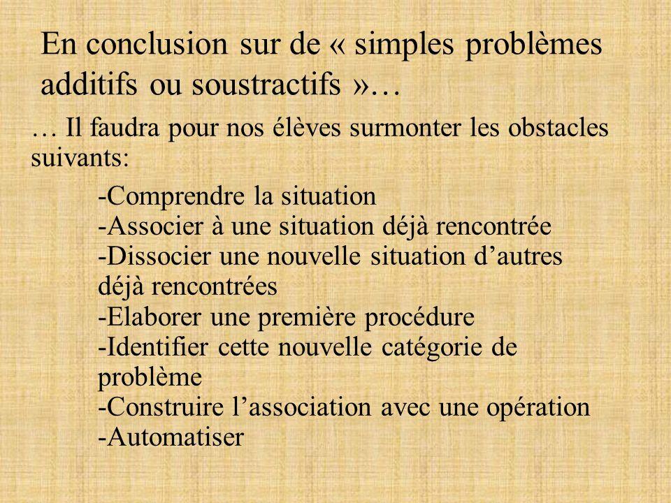 En conclusion sur de « simples problèmes additifs ou soustractifs »…