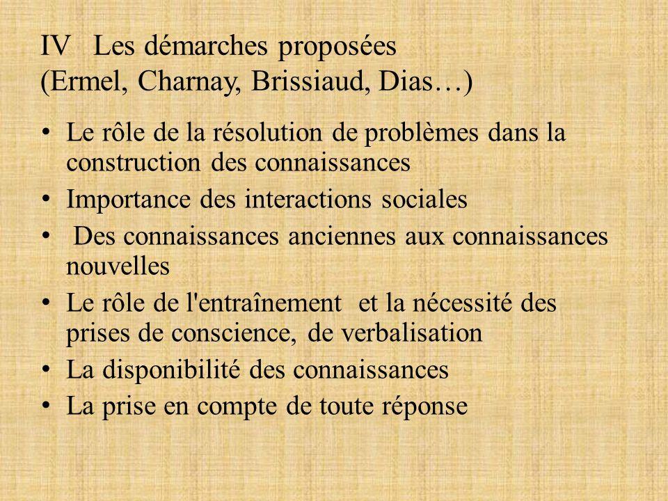 IV Les démarches proposées (Ermel, Charnay, Brissiaud, Dias…)