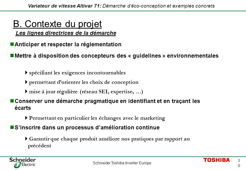 B. Contexte du projet Les lignes directrices de la démarche