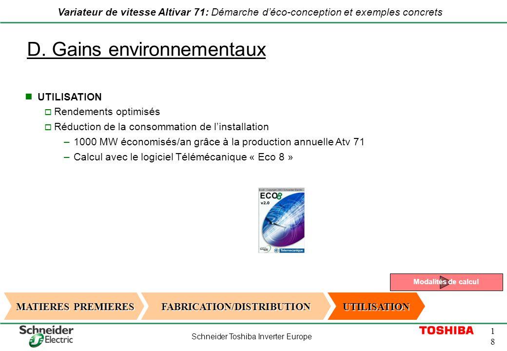D. Gains environnementaux