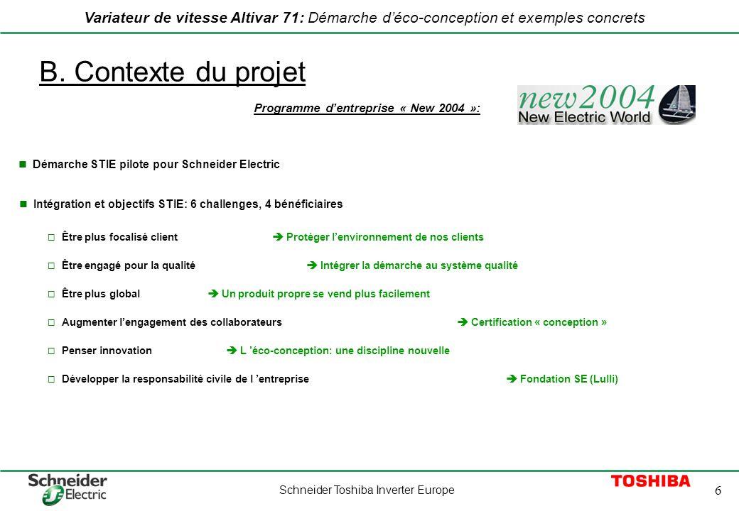 B. Contexte du projet Programme d'entreprise « New 2004 »: