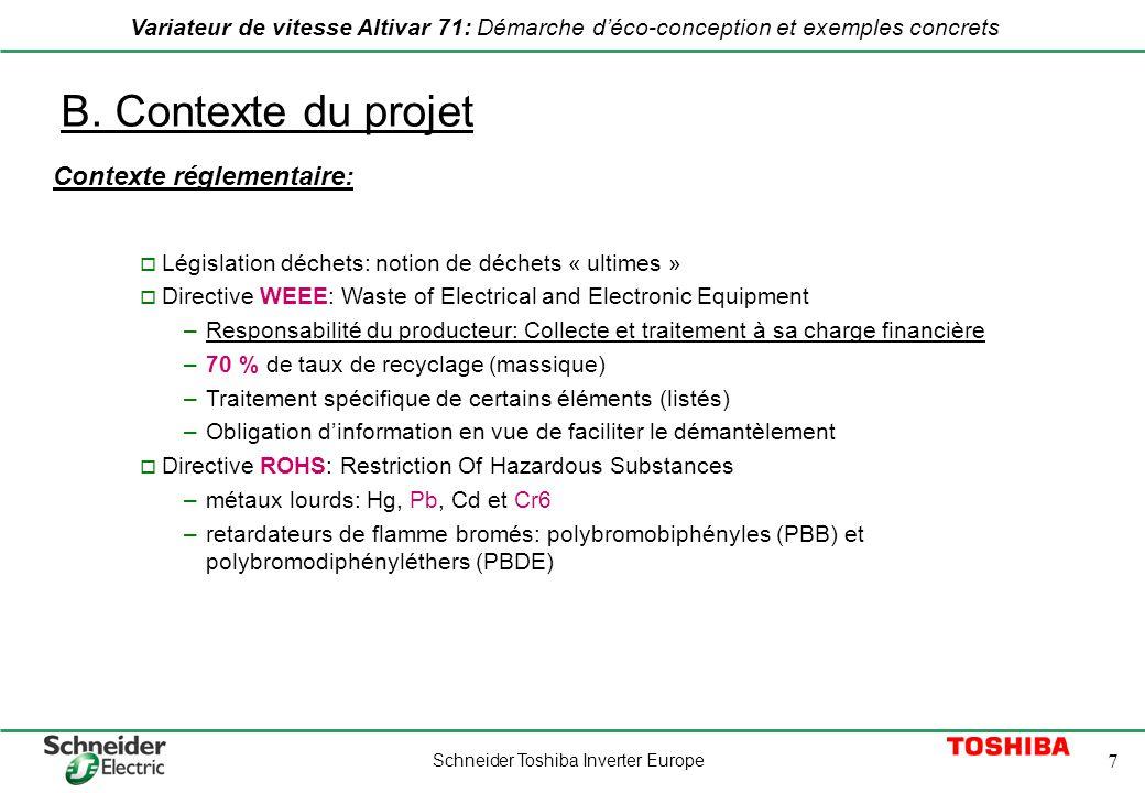 B. Contexte du projet Contexte réglementaire:
