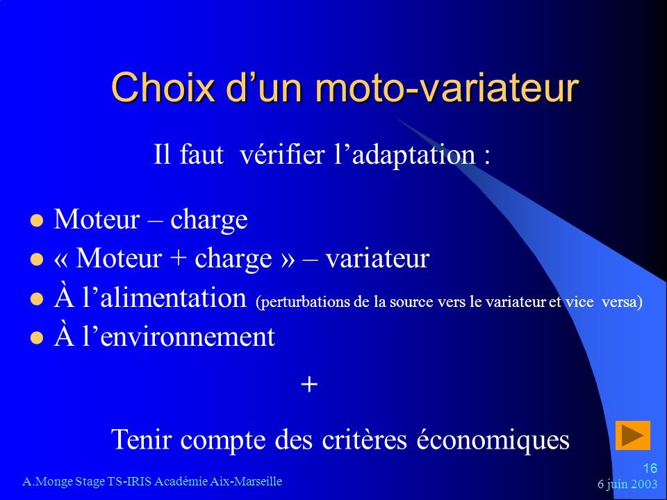 Choix d'un moto-variateur