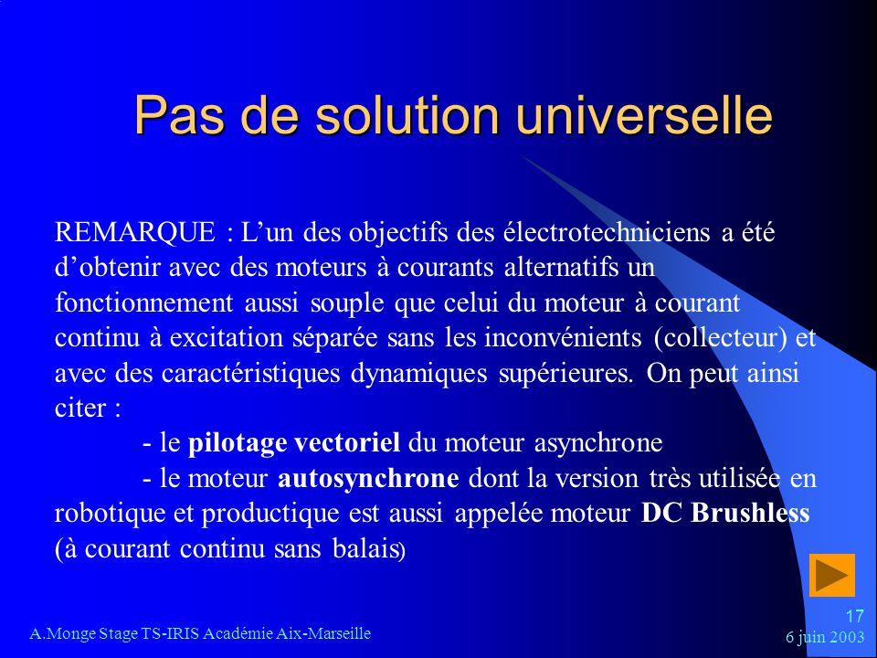 Pas de solution universelle