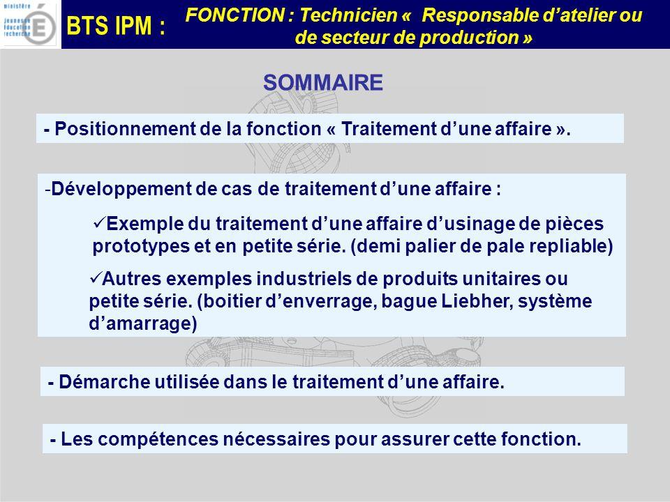SOMMAIRE - Positionnement de la fonction « Traitement d'une affaire ».