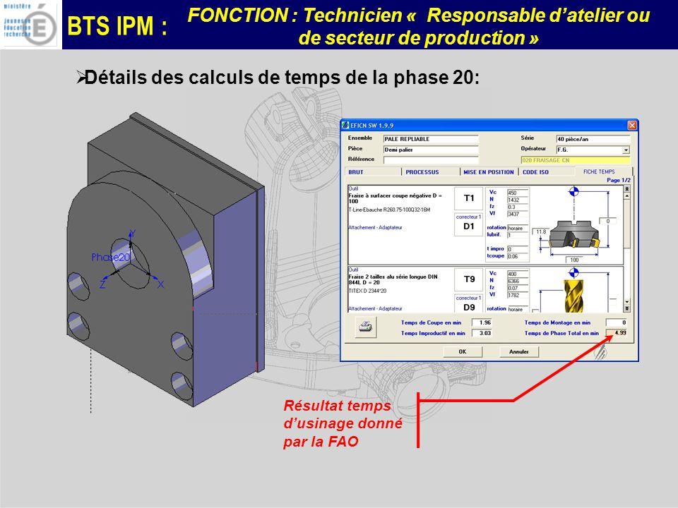 Détails des calculs de temps de la phase 20: