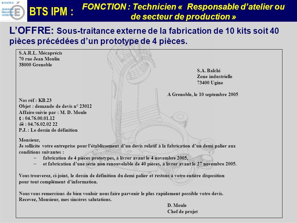 L'OFFRE: Sous-traitance externe de la fabrication de 10 kits soit 40 pièces précédées d'un prototype de 4 pièces.