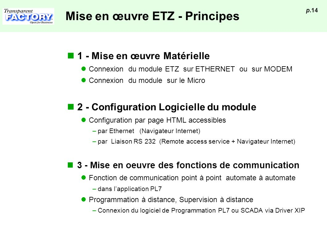 Mise en œuvre ETZ - Principes