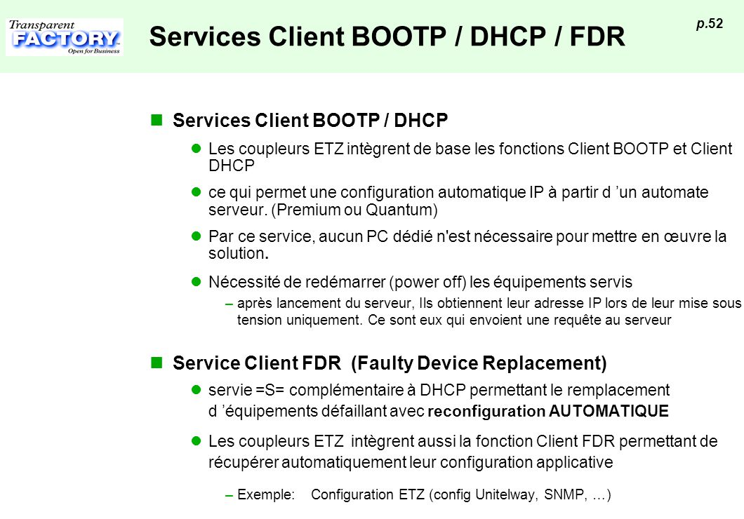 Services Client BOOTP / DHCP / FDR