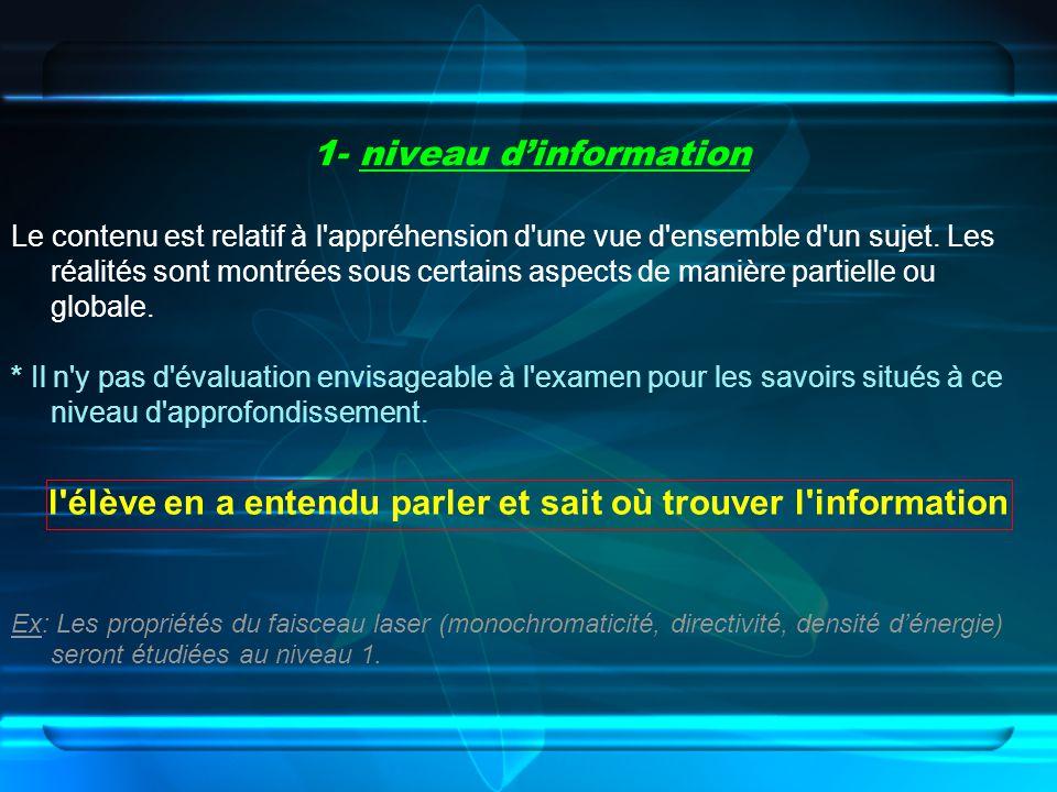 1- niveau d'information