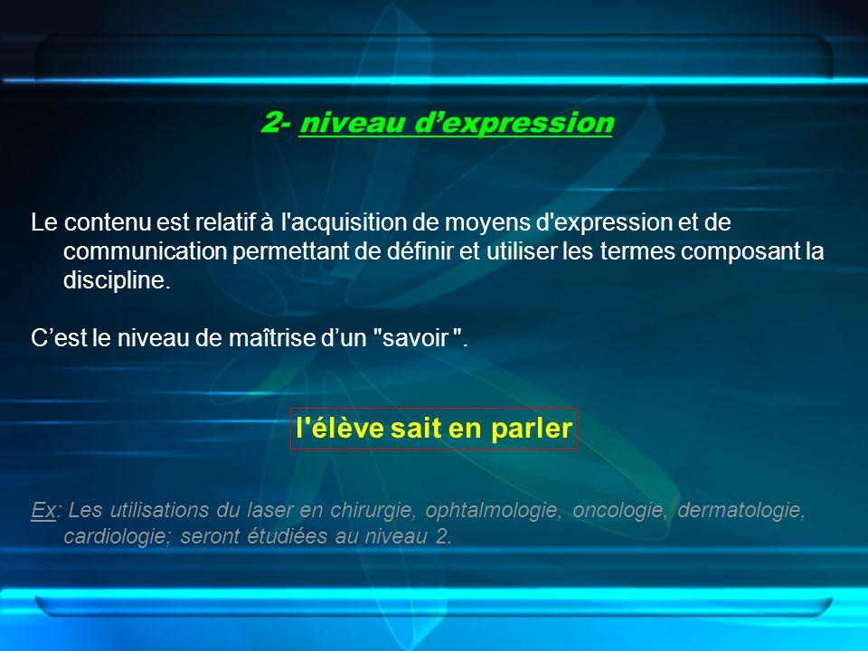 2- niveau d'expression l élève sait en parler