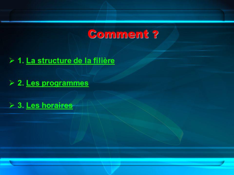 Comment 1. La structure de la filière 2. Les programmes