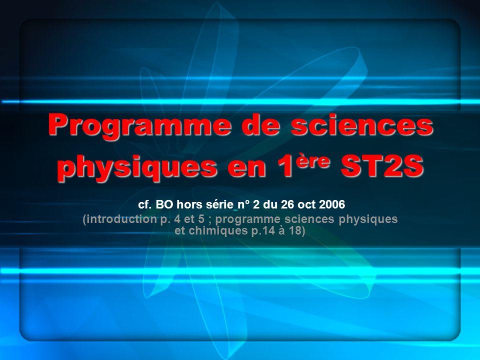 Programme de sciences physiques en 1ère ST2S