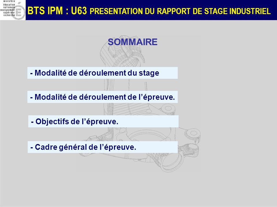 SOMMAIRE - Modalité de déroulement du stage