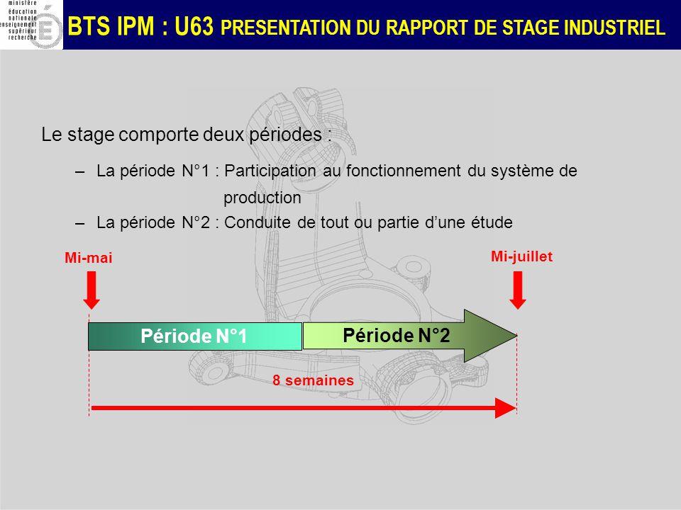 Le stage comporte deux périodes :