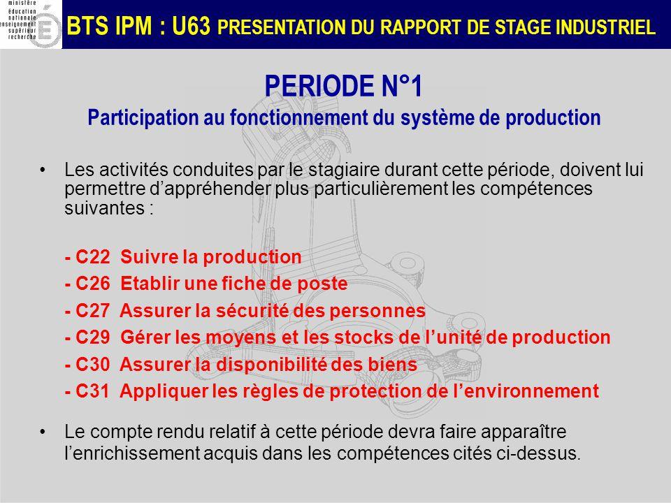 PERIODE N°1 Participation au fonctionnement du système de production