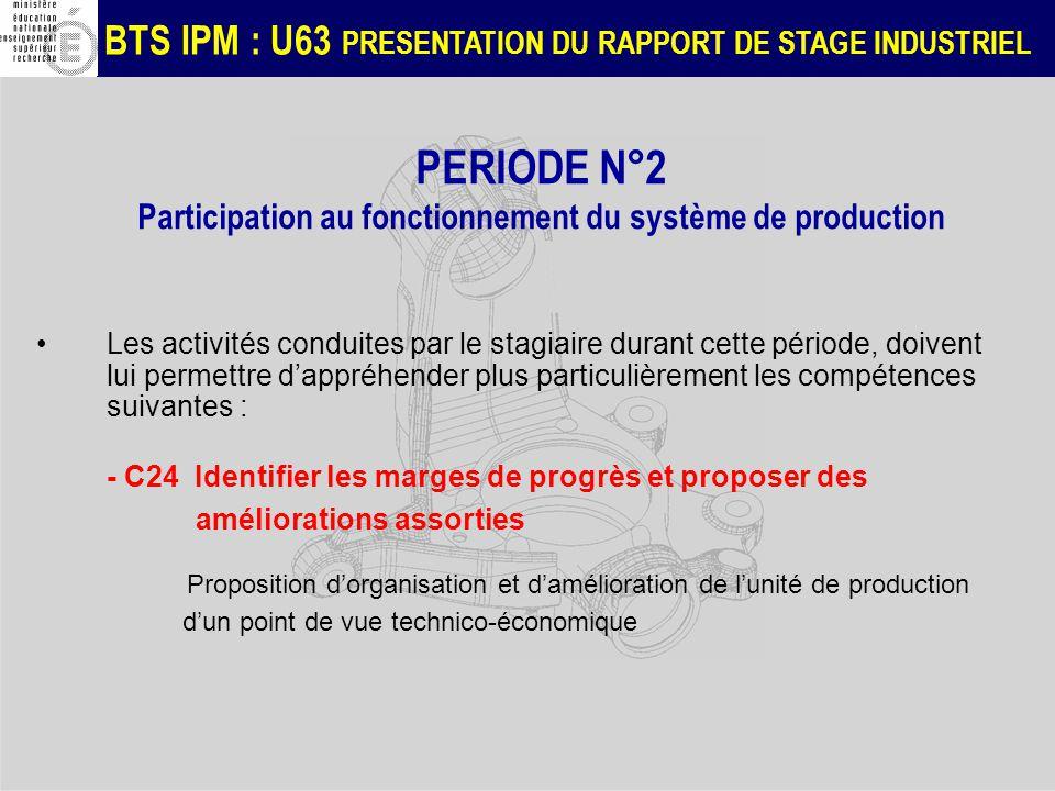 PERIODE N°2 Participation au fonctionnement du système de production