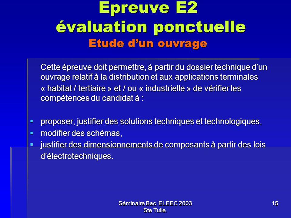 Epreuve E2 évaluation ponctuelle Etude d'un ouvrage