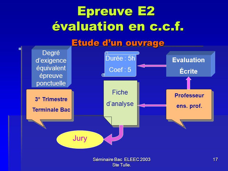 Epreuve E2 évaluation en c.c.f. Etude d'un ouvrage