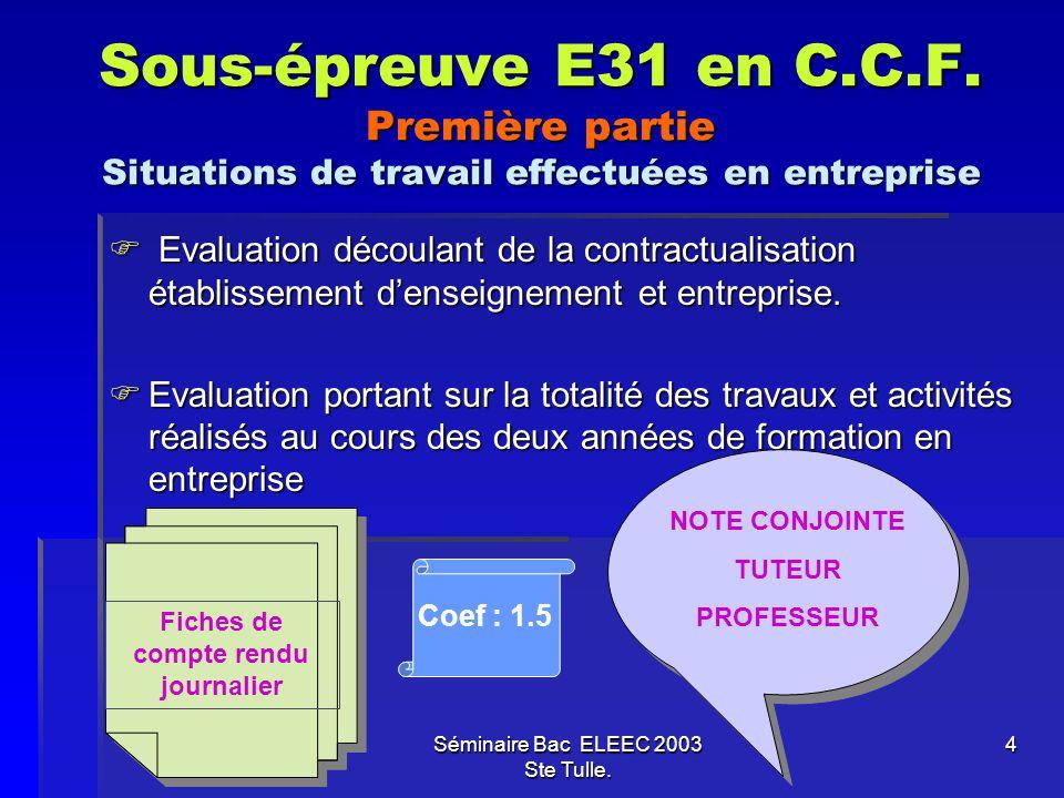 Sous-épreuve E31 en C.C.F. Première partie Situations de travail effectuées en entreprise