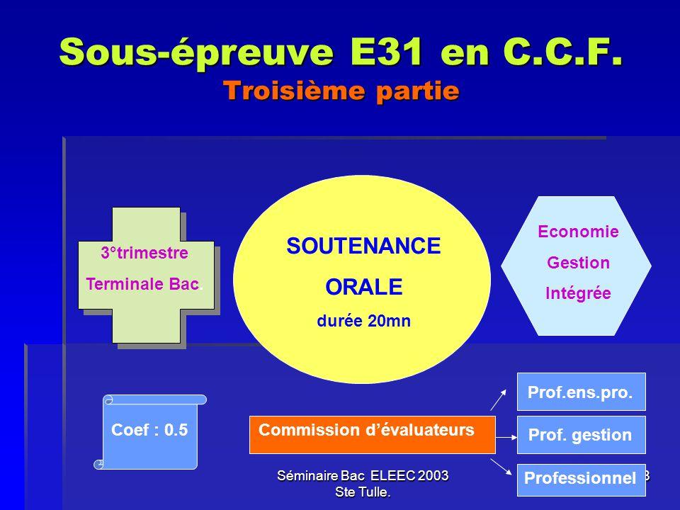 Sous-épreuve E31 en C.C.F. Troisième partie