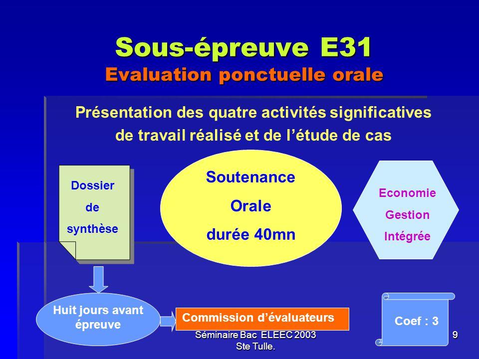 Sous-épreuve E31 Evaluation ponctuelle orale