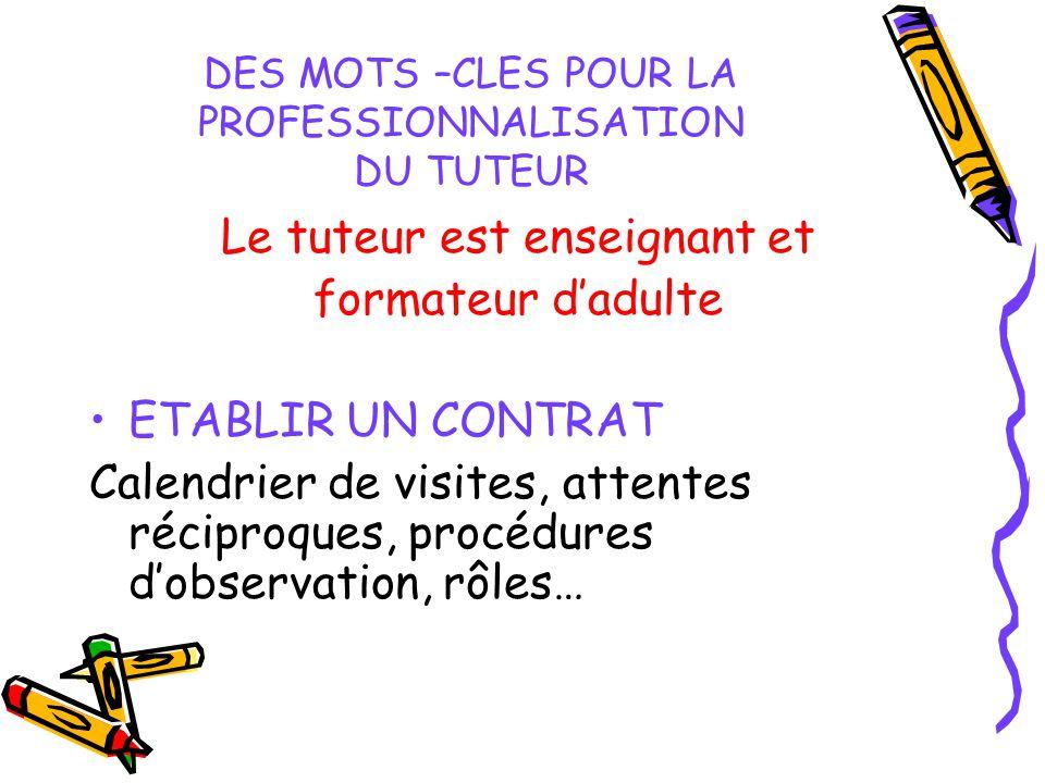 DES MOTS –CLES POUR LA PROFESSIONNALISATION DU TUTEUR