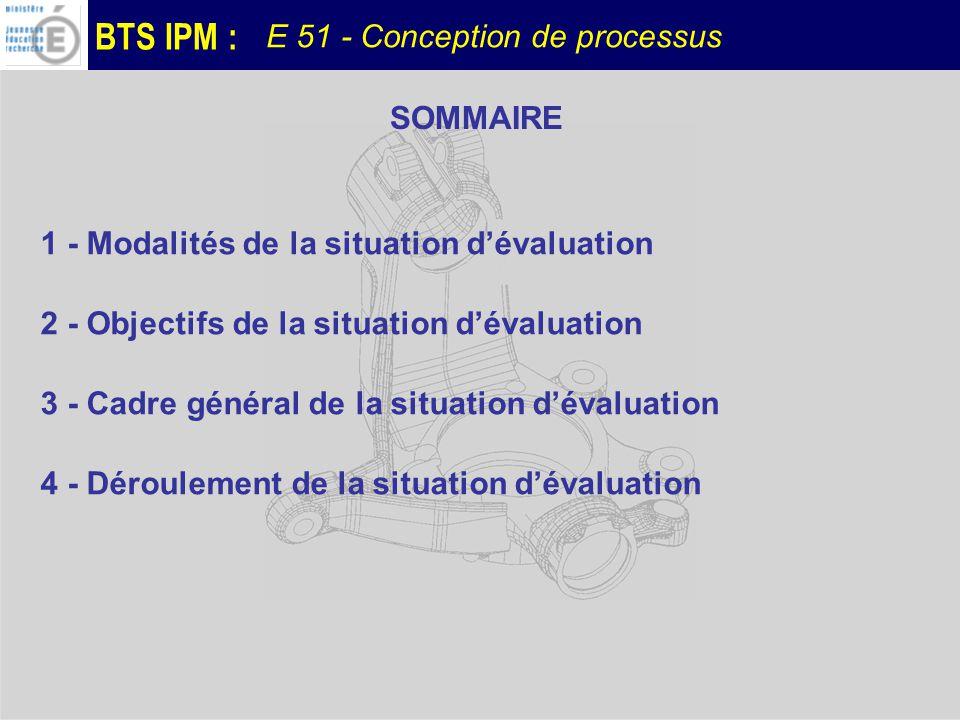 SOMMAIRE 1 - Modalités de la situation d'évaluation. 2 - Objectifs de la situation d'évaluation. 3 - Cadre général de la situation d'évaluation.