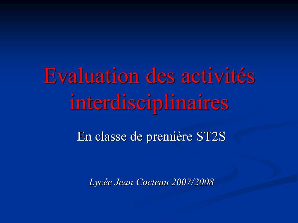 Evaluation des activités interdisciplinaires