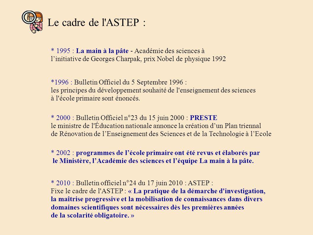 Le cadre de l ASTEP : * 1995 : La main à la pâte - Académie des sciences à l'initiative de Georges Charpak, prix Nobel de physique 1992.