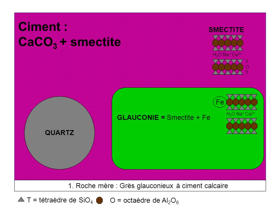 Ciment : CaCO3 + smectite SMECTITE GLAUCONIE = Smectite + Fe Fe QUARTZ
