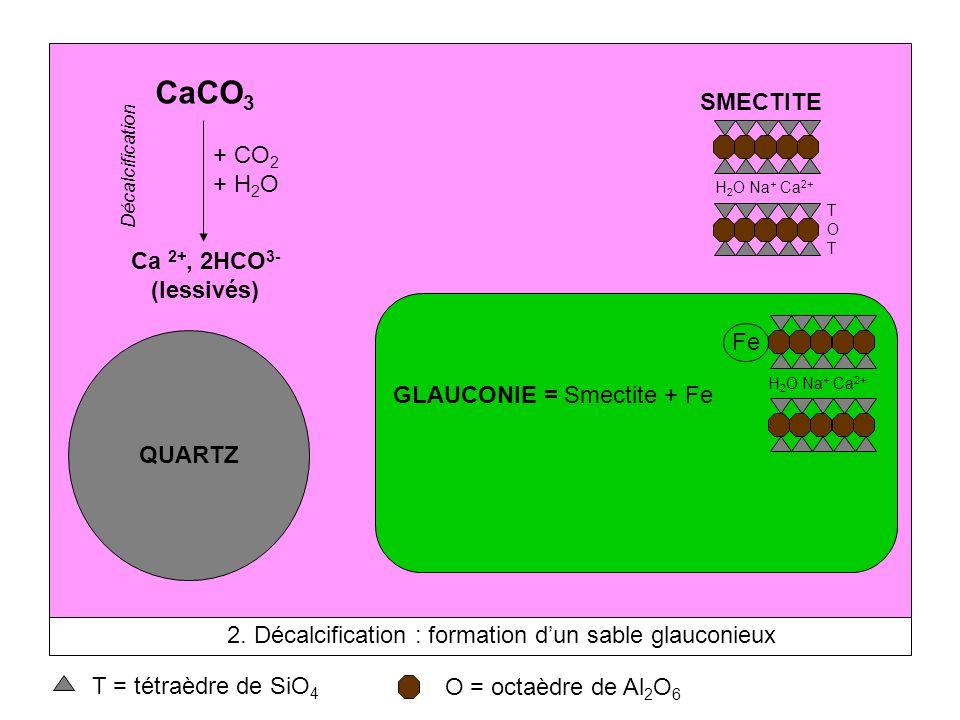 CaCO3 SMECTITE + CO2 + H2O Ca 2+, 2HCO3- (lessivés) Fe