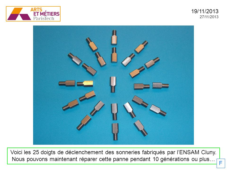 19/11/2013 27/11/2013. Voici les 25 doigts de déclenchement des sonneries fabriqués par l'ENSAM Cluny.