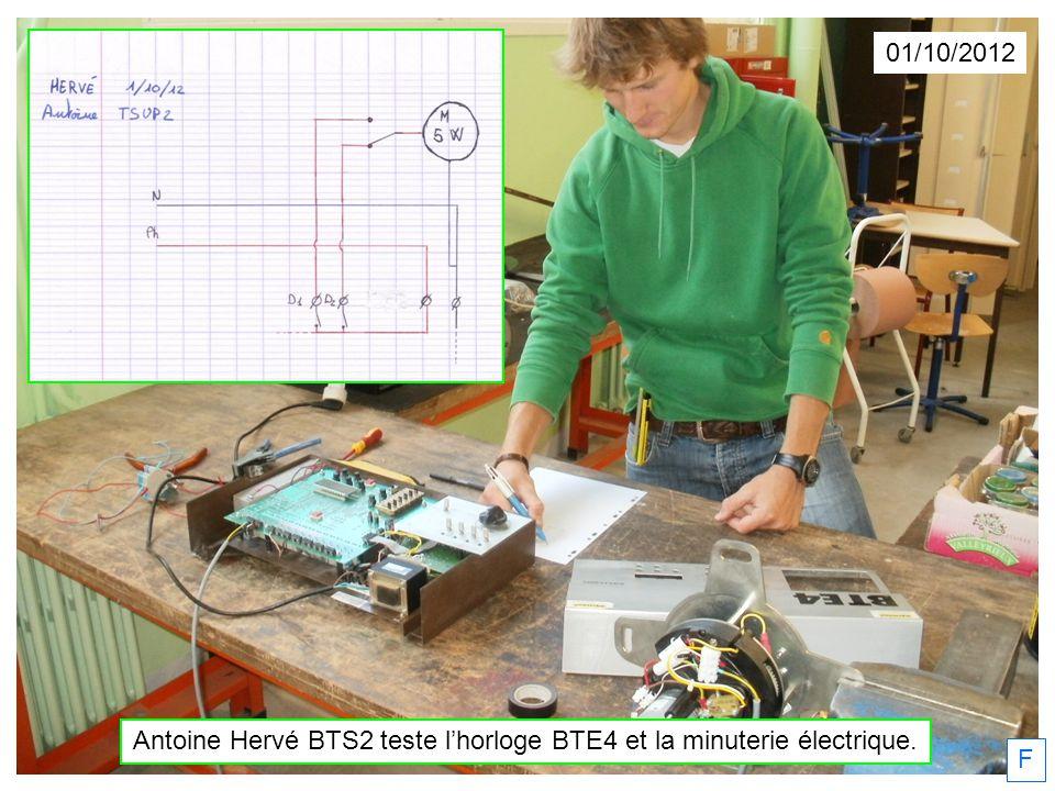 Antoine Hervé BTS2 teste l'horloge BTE4 et la minuterie électrique.