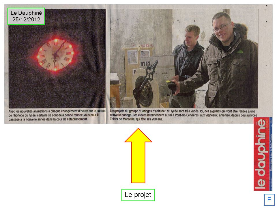 Le Dauphiné 25/12/2012 Le projet F