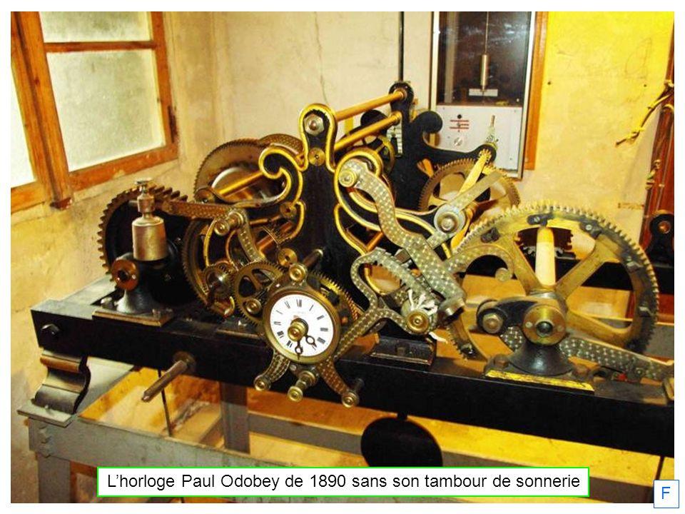 L'horloge Paul Odobey de 1890 sans son tambour de sonnerie