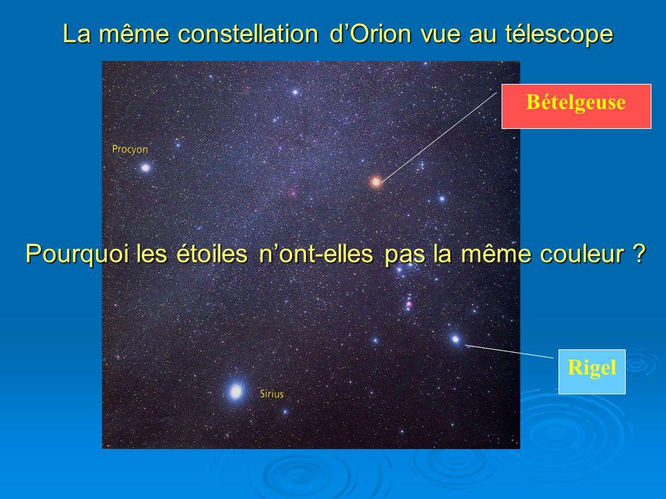 La même constellation d'Orion vue au télescope