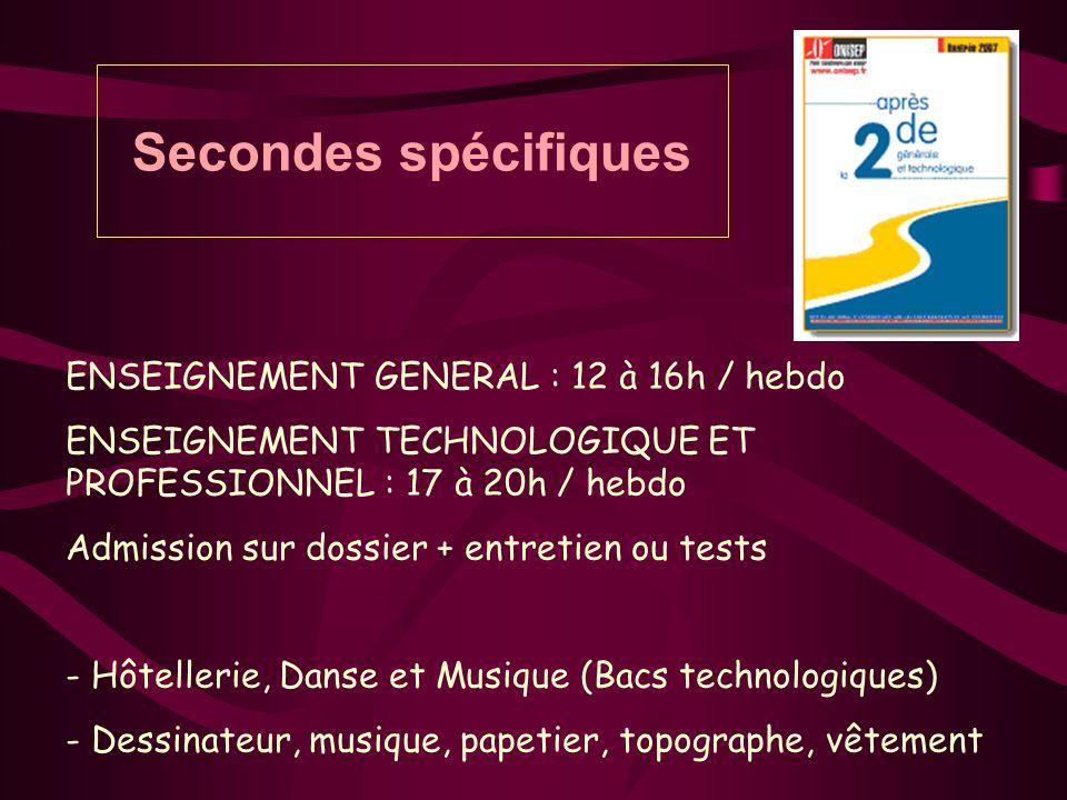 Secondes spécifiques ENSEIGNEMENT GENERAL : 12 à 16h / hebdo