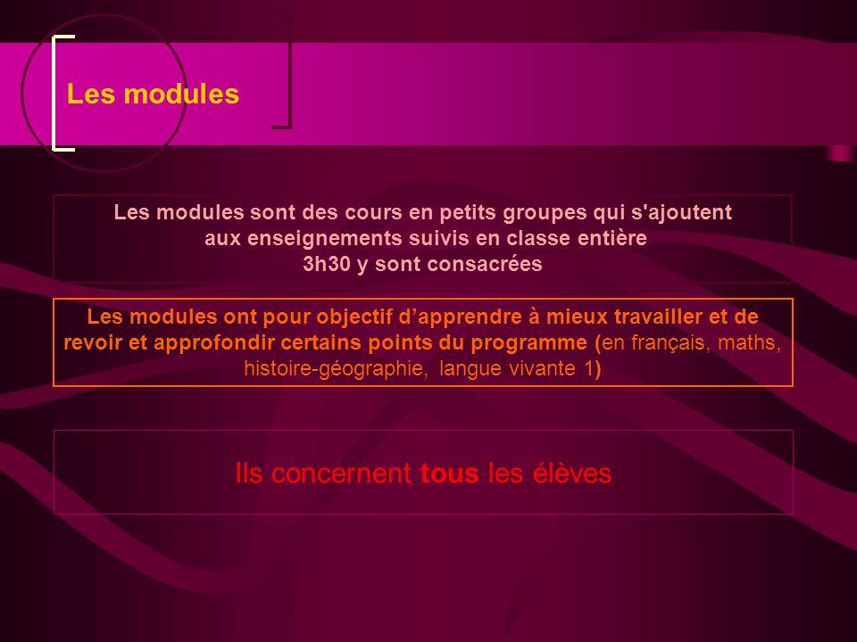 Les modules Les modules sont des cours en petits groupes qui s ajoutent. aux enseignements suivis en classe entière.