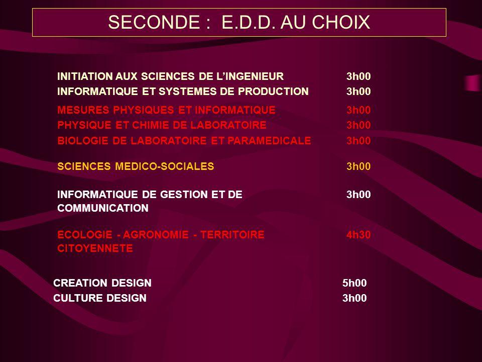 SECONDE : E.D.D. AU CHOIX INITIATION AUX SCIENCES DE L'INGENIEUR 3h00