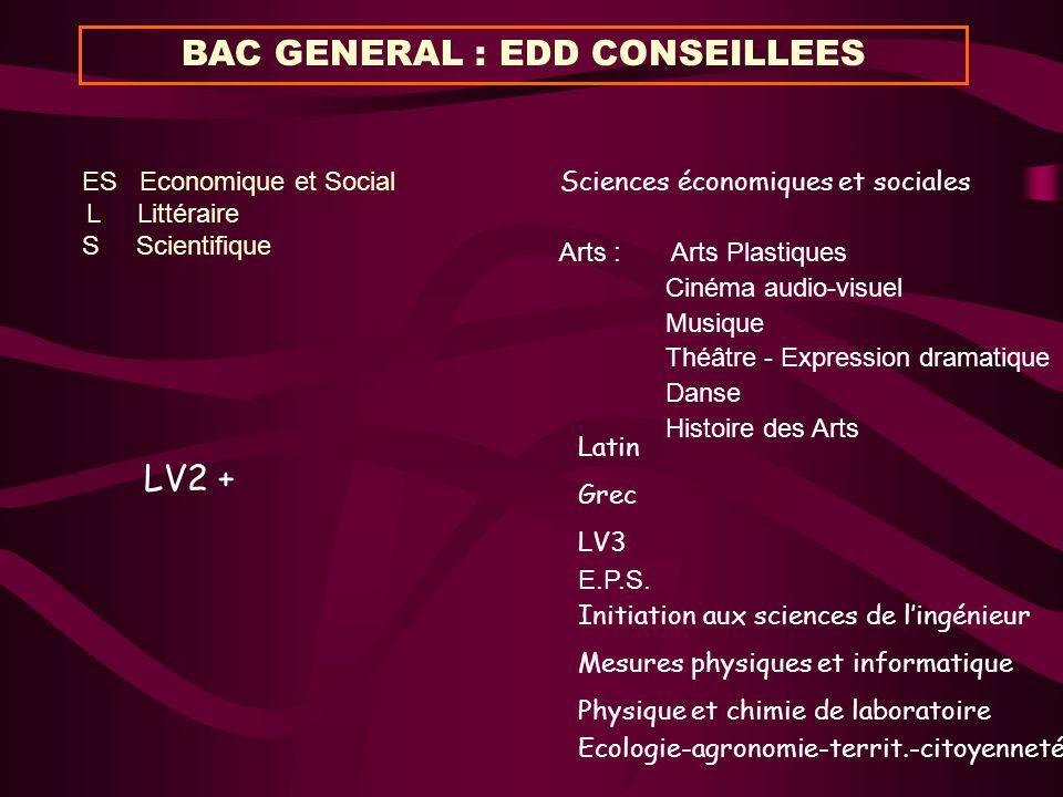 BAC GENERAL : EDD CONSEILLEES