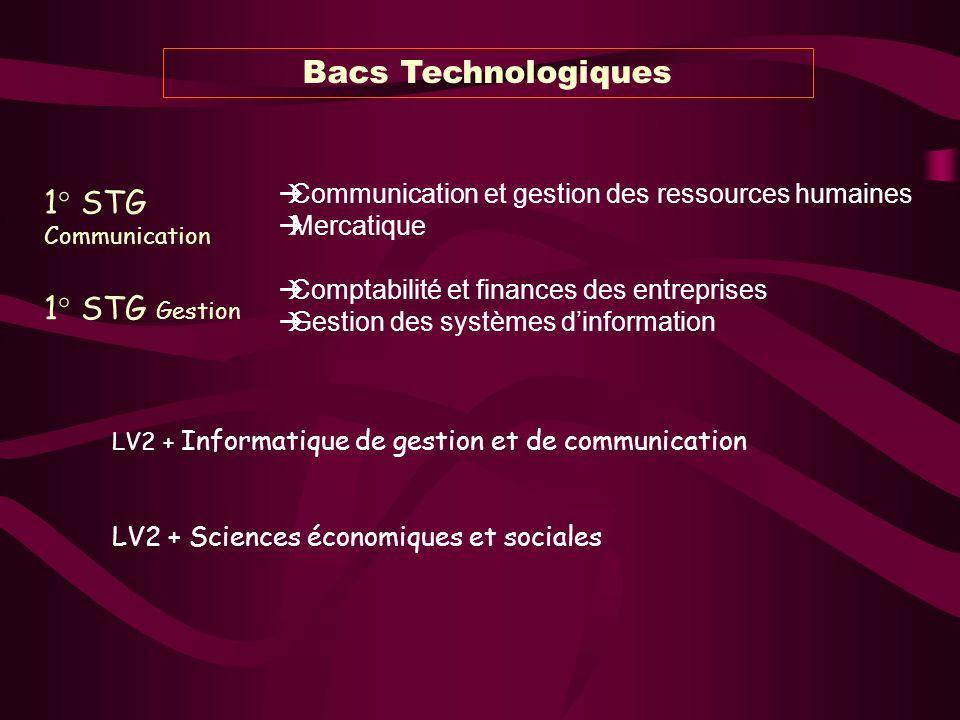 Bacs Technologiques 1° STG Communication 1° STG Gestion