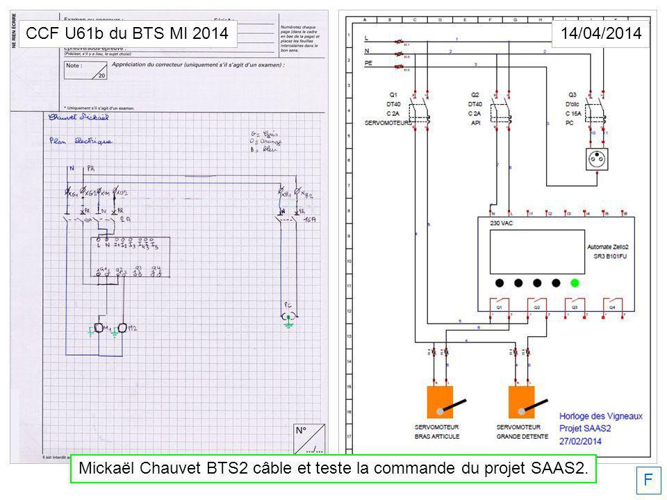 Mickaël Chauvet BTS2 câble et teste la commande du projet SAAS2.