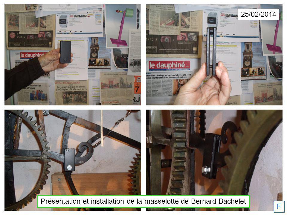 Présentation et installation de la masselotte de Bernard Bachelet